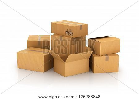 closed and opened cardboard boxes isolated on white background. 3d illustrations