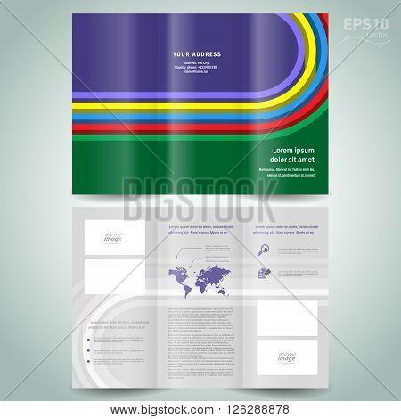 dimensional colored line brochure design template folder leaflet