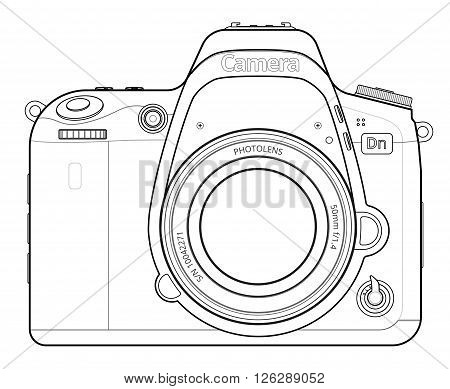 Front view of SLR Camera Line Art.  Outline Vector illustration