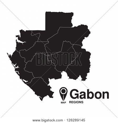 Gabon map regions. vector map silhouette of Gabon