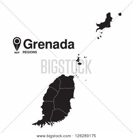 Grenada map regions. vector map silhouette of Grenada