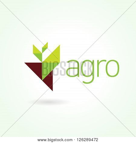 Agro symbol emblem sign. Leaf green logo