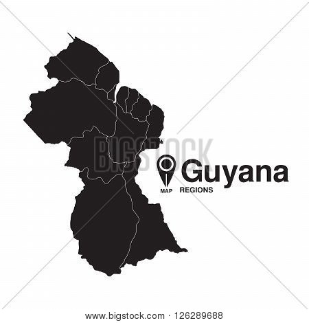 Guyana map regions. vector map silhouette of Guyana