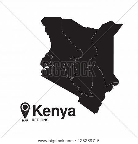 Kenya map regions. vector map silhouette of Kenya