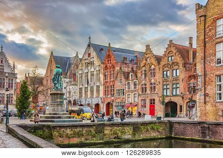 Evening View On Jan Van Eyck Monument From Spinolarei, Bruges, Belgium