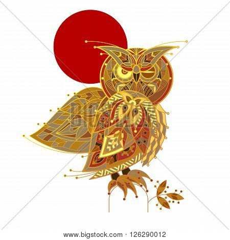 Owl. Vector decorative illustration owl isolated on white background. Patterned image of a  owl.
