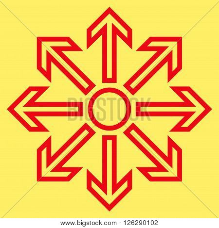 Maximize Arrows vector icon. Style is outline icon symbol, red color, yellow background.