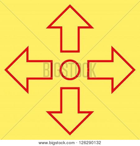 Maximize Arrows vector icon. Style is contour icon symbol, red color, yellow background.