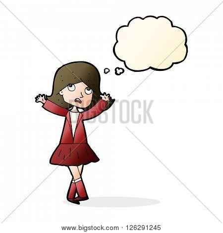 cartoon unhappy girl with thought bubble