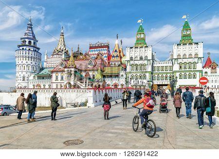 Moscow Russia - April 17 2016: Kremlin in Izmailovo - unique center of culture and entertainment.
