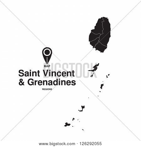 Saint Vincent and Grenadines map regions. vector map silhouette