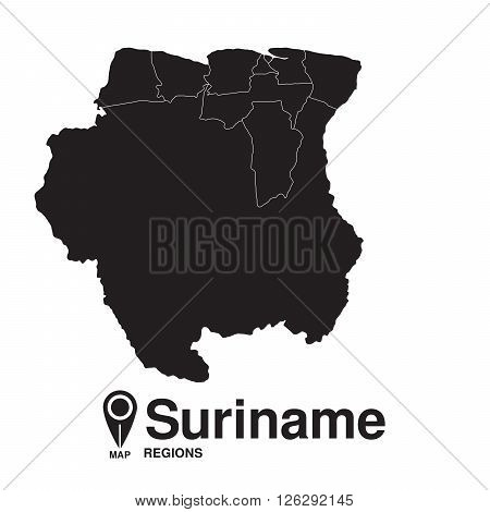 Suriname map regions. vector map silhouette of Suriname