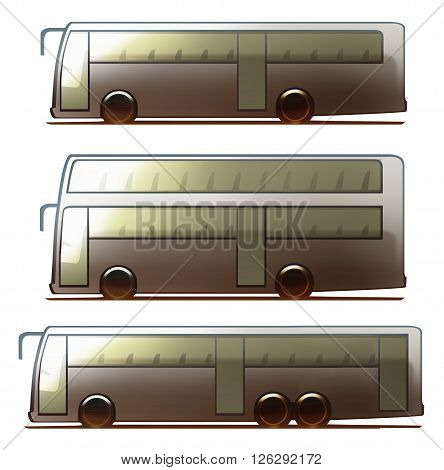 Car body bus, 2-floor bus and long bus isolated on white background