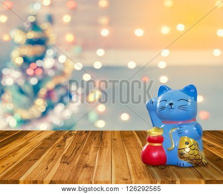 Lucky Cat Bank With Christmas Background,  Time To Start To Saving For Keep Money For Celebration.