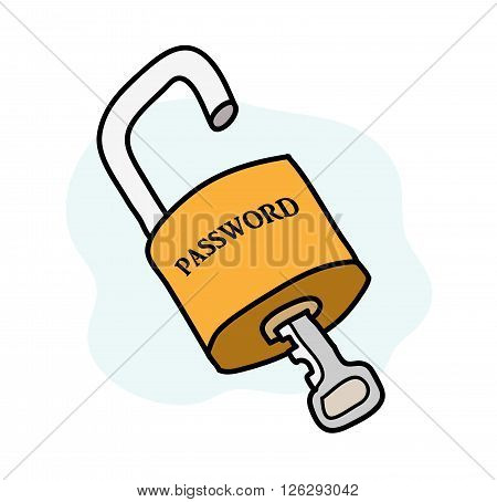 Password Security, a hand drawn vector illustration of a padlock being unlocked, isolated on a simple background (editable).