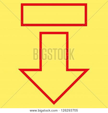 Pull Arrow Down vector icon. Style is contour icon symbol, red color, yellow background.