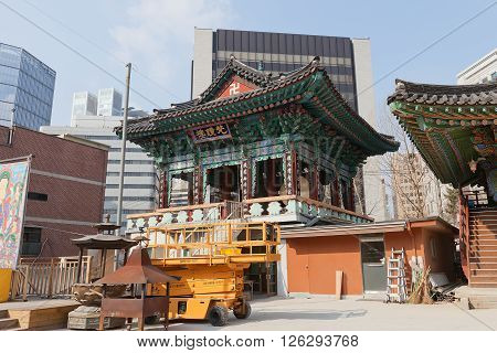 SEOUL SOUTH KOREA - MARCH 14 2016: Bell Pavilion of Jogyesa Temple (founded in 1395 as Gakhwangsa Temple) in Seoul Korea. Jogyesa Temple is the center of Seon (Zen) Buddhism in Korea