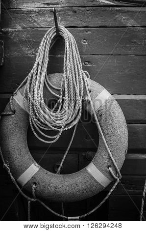 Lifebuoy ring  on a deck of an  vessel