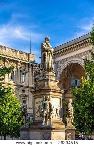Monument to Leonardo da Vinci in Milan - Italy