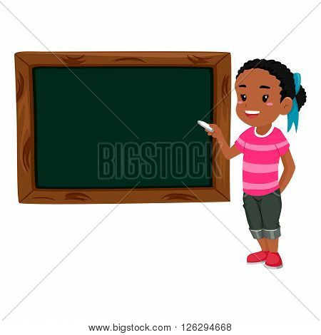 Vector Illustration of a Girl holding chalk teaching on Blank Black board