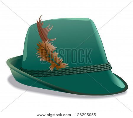 illustration of the traditional green tirol hat