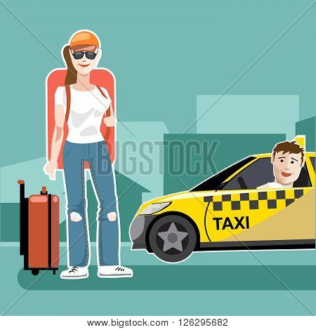 A girl tourist with luggage catching a taxi cab