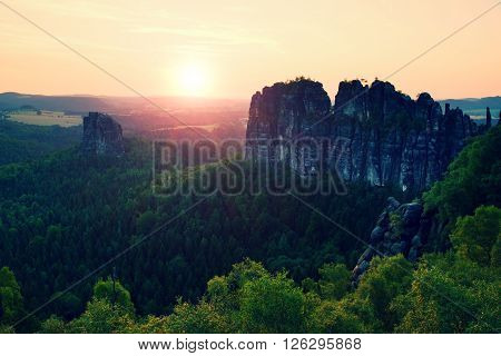 Popular Climbers Resort In Saxony Park, Germany. Sharp Sandstone Cliffs Above Deep Valley.