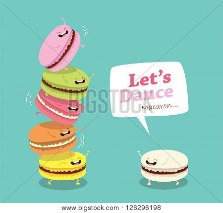 Group of macarons. Sweet funny macarons characters vector cartoon