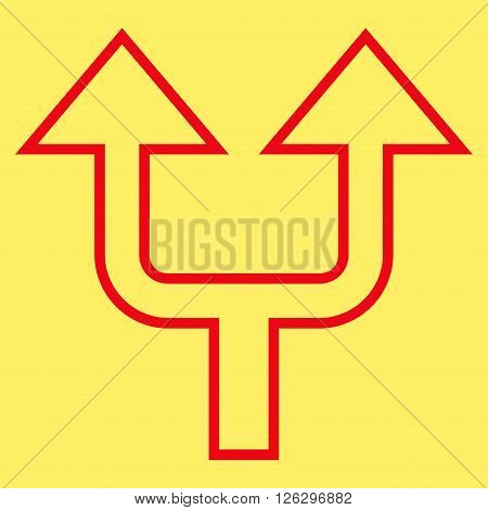 Split Arrow Up vector icon. Style is contour icon symbol, red color, yellow background.