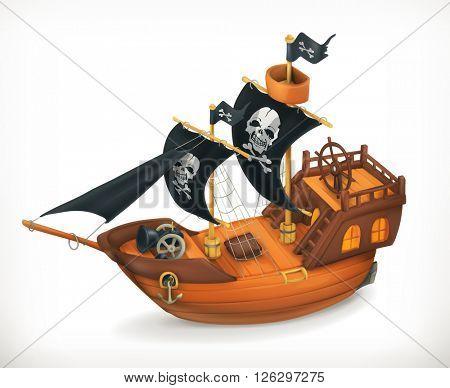 Pirate ship, vector icon