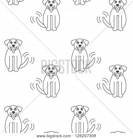 Happy big dog wags its tail. St. Bernard breed. Vector line seamless pattern black on white background.