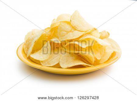 Crispy potato chips on a plate