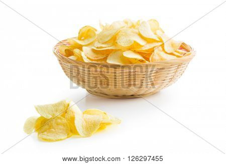 Crispy potato chips on white background