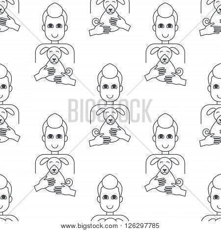 Happy men dog owners hug their dogs. Dog adoption concept. Vector line seamless pattern black on white background.
