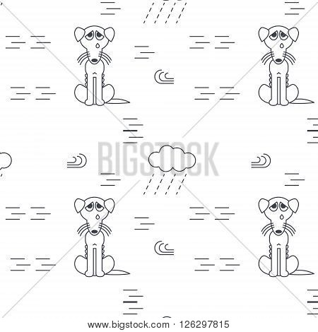 Poor homeless lost dogs crying outside in bad weather. Bony unhappy dog. Vector line seamless pattern black on white background.