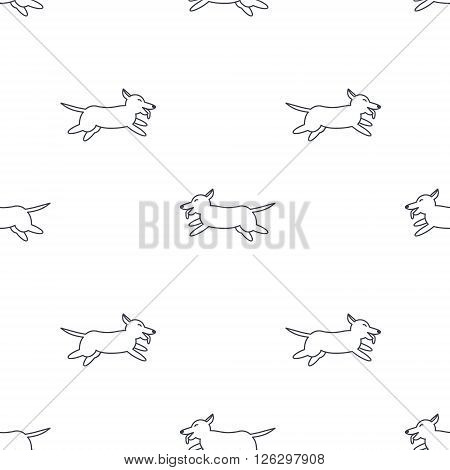 Happy running dogs. Welsh corgi breed. Dog adoption concept.  Vector line seamless pattern black on white background.