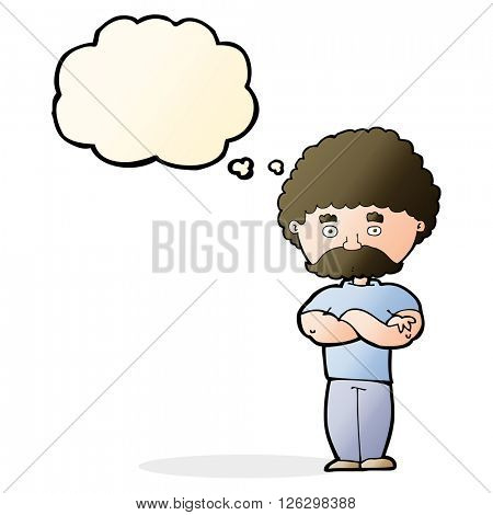 cartoon dad with folded arms with thought bubble