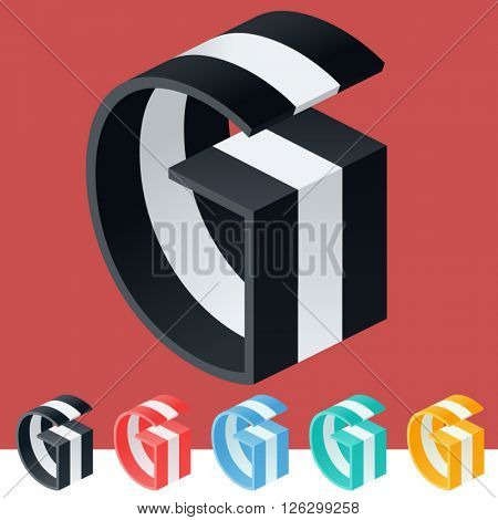3D trendy and stylish  graphic vector stripped  alphabet. Optional different colors. Letter G