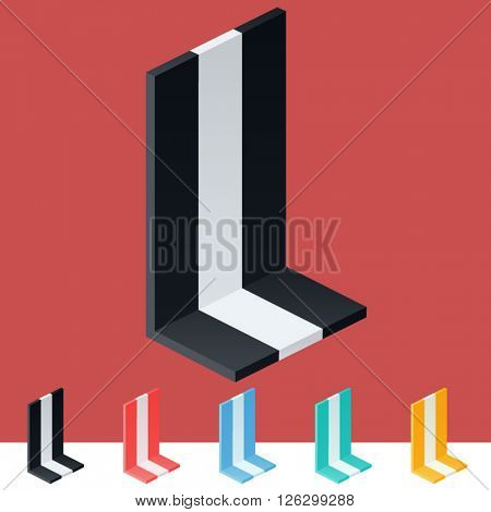 3D trendy and stylish  graphic vector stripped  alphabet. Optional different colors. Letter L