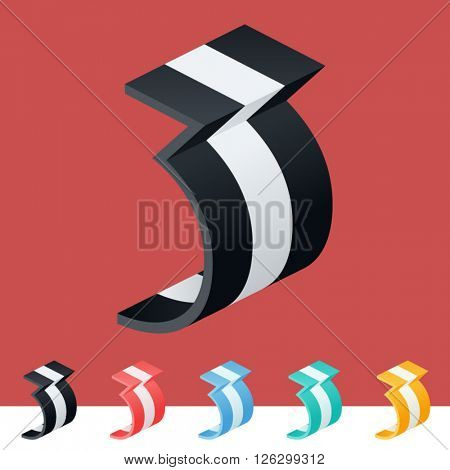 3D trendy and stylish  graphic vector stripped  alphabet. Optional different colors. Number 3