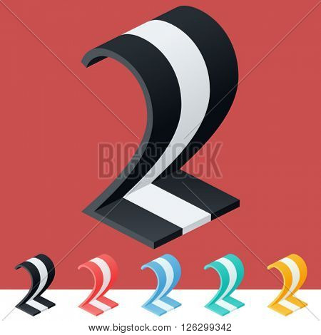 3D trendy and stylish  graphic vector stripped  alphabet. Optional different colors. Number 2