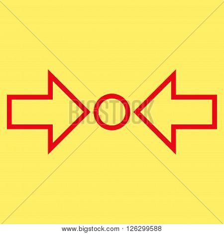 Pressure Horizontal vector icon. Style is thin line icon symbol, red color, yellow background.