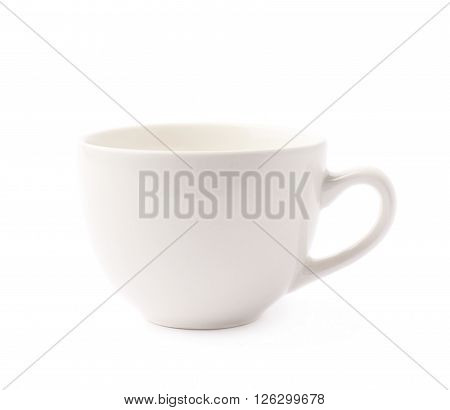 White glazed ceramic coffee or tea cup with a handle, isolated over the white background