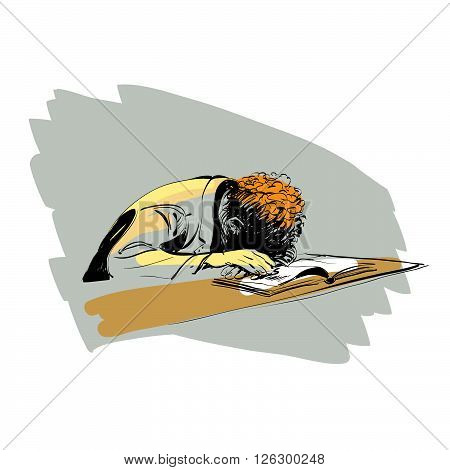 boy asleep on a textbook education school line art comic hand drawn. Reading books. colored drawing