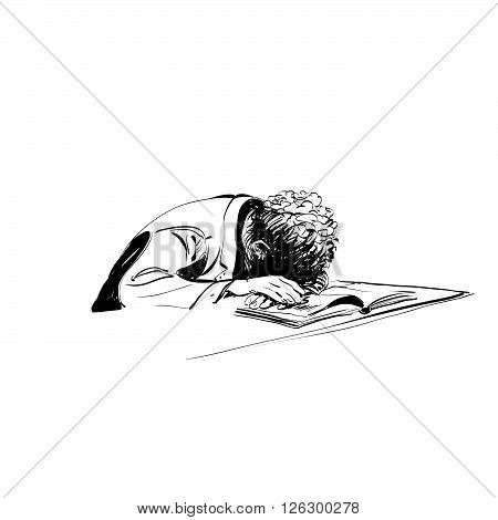 boy asleep on a textbook education school line art comic hand drawn. Reading books