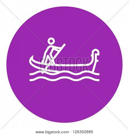 Sailor rowing boat line icon.