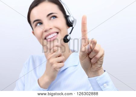 contact us customer service operator woman with headset touch screen finger