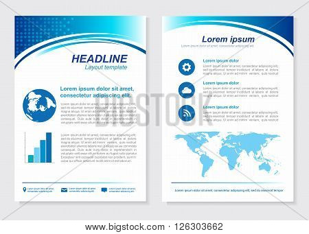 Layout template size A4 Front page and back page Blue Vector design