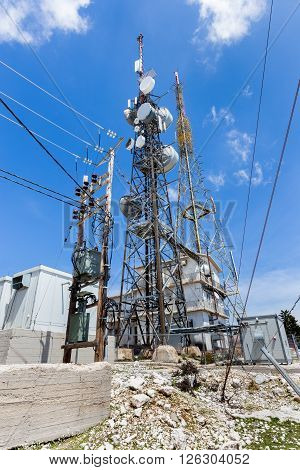 Transmission tower to transmit phone radio tv signals in Greece