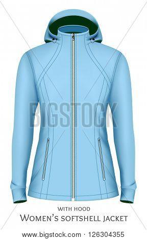 Softshell jacket for lady. Fully editable handmade mesh. Vector illustration.